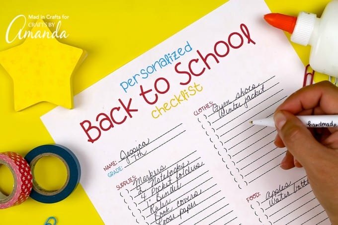 filling out back to school checklist