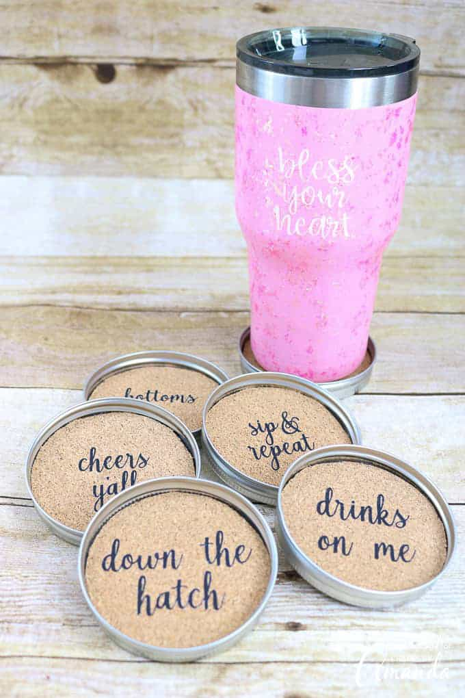 mason jar lid coasters using cork roll