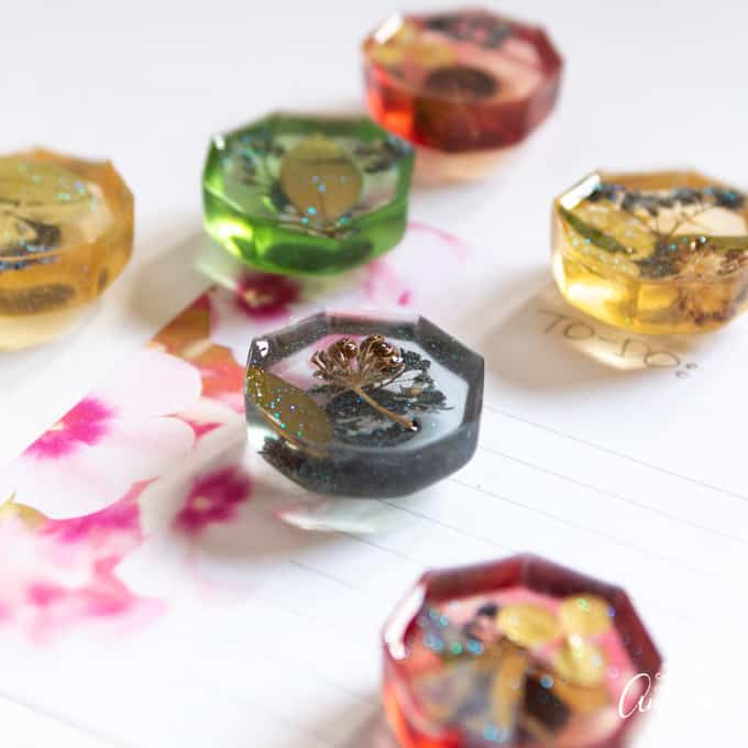colorful pressed flower resin magnets
