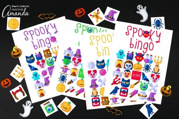 halloween bingo game cards with halloween themed figures