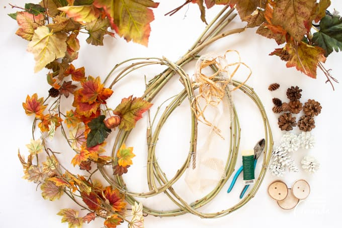 What you will need to make a pumpkin grapevine wreath