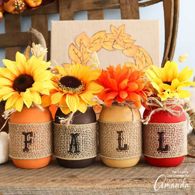 "burlap stenciles ""fall"" painted mason jars"
