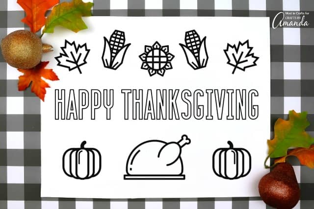 Thanksgiving placemats printable with turkey, corn, leaves, flowers and pumpkins