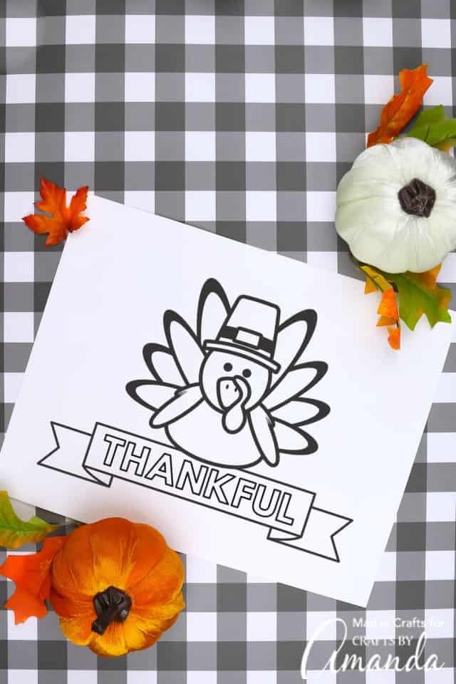 Thankful turkey thanksgiving printable