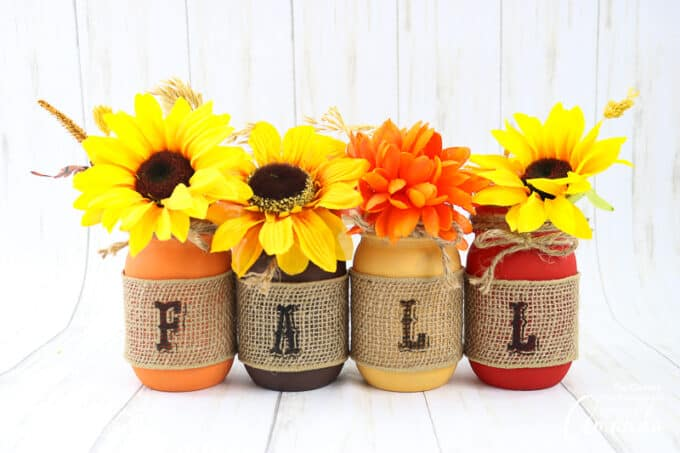 painted fall mason jars