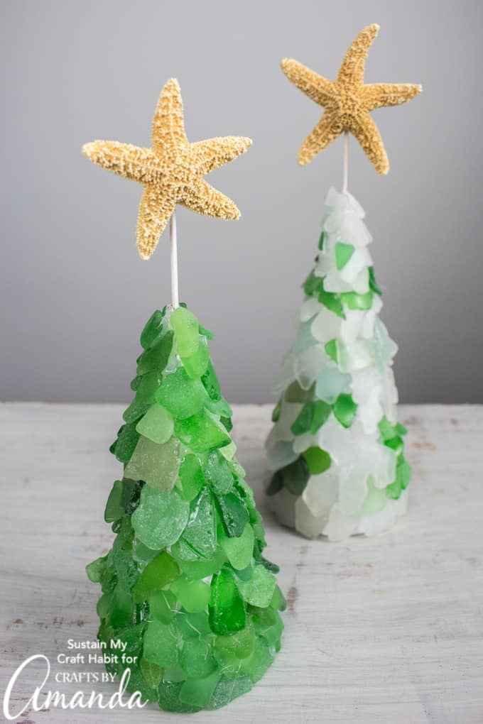 DIY seaglass Christmas trees topped with starfish