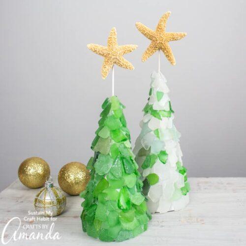 DIY seaglass Christmas tree