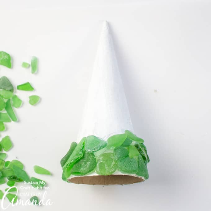 adding sea glass to cone