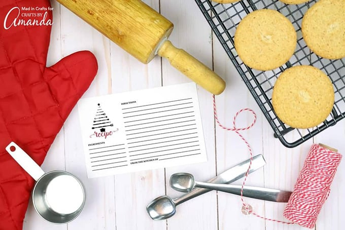recipe card with rolling pin and cookies