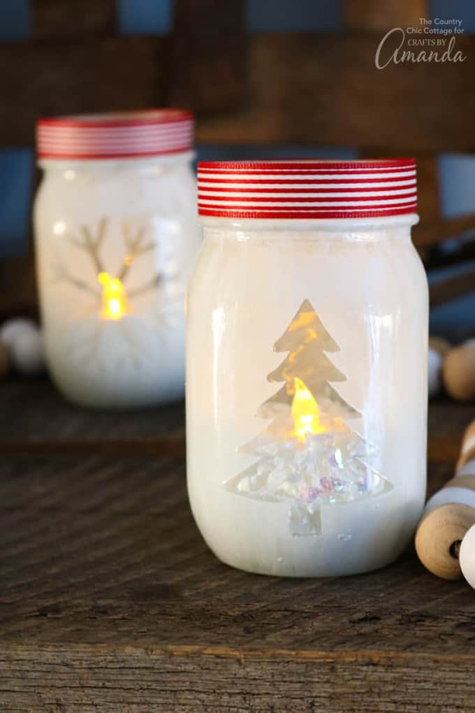 Christmas tree and snowflake design mason jar votive holders