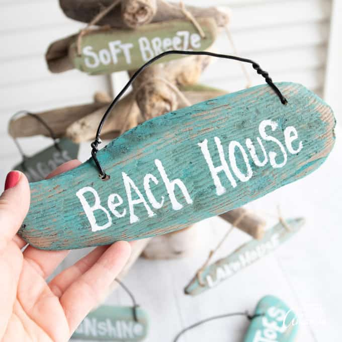 Beach House driftwood beach sign ornaments