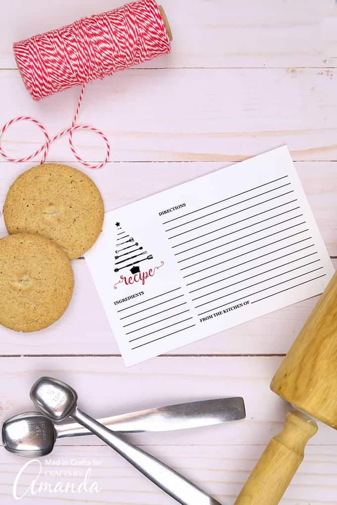 Printable recipe card with cookies and measuring spoons