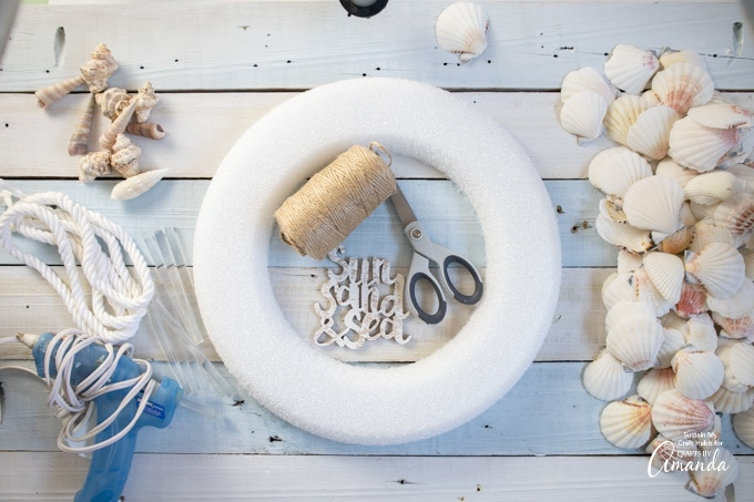 supplies needed to make a sea shell wreath