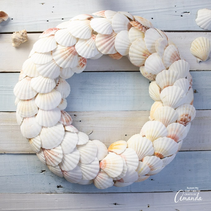 overhead shot of seashell wreath