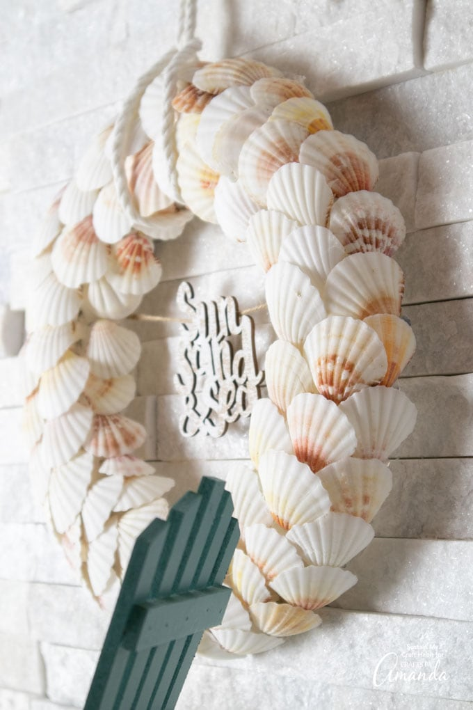 wreath made from scalloped sea shells