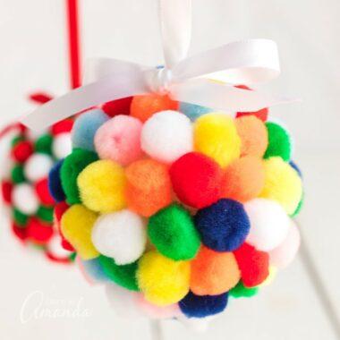 colorful pom pom ornaments