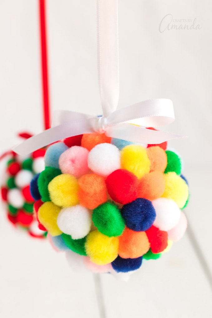 colorful pom pom ornaments