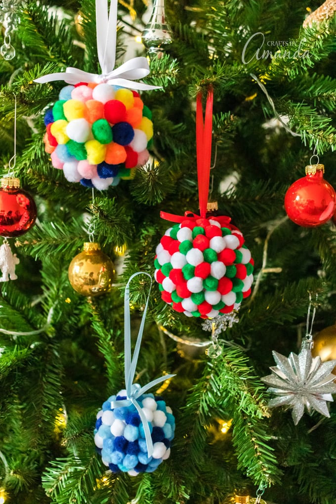 pom pom ornaments on christmas tree