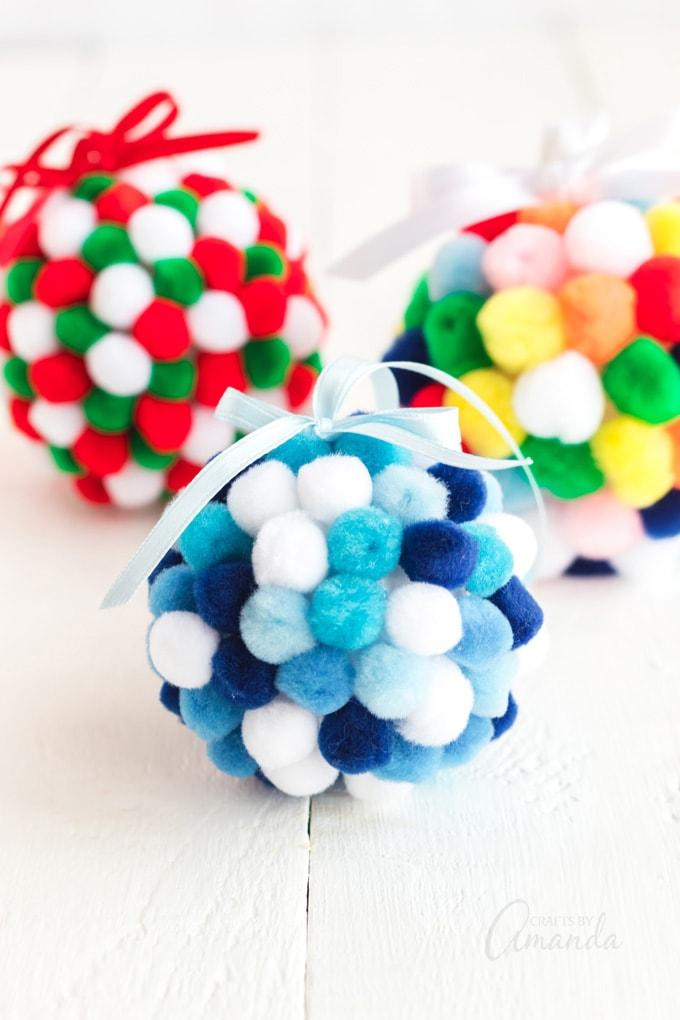 3 pom pom ornaments