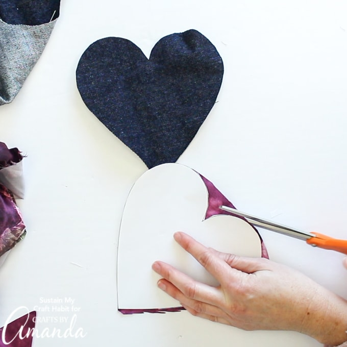 cutting large hearts out of scrap fabric
