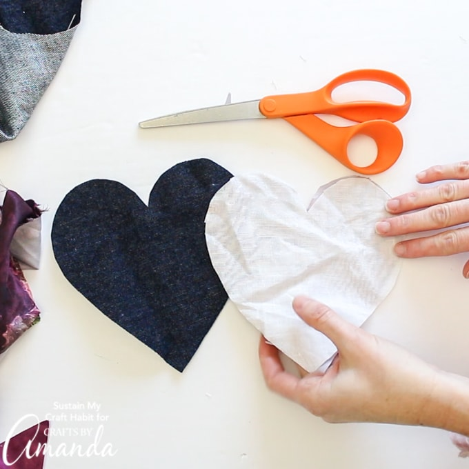 adding fusing to lightweight fabric hearts