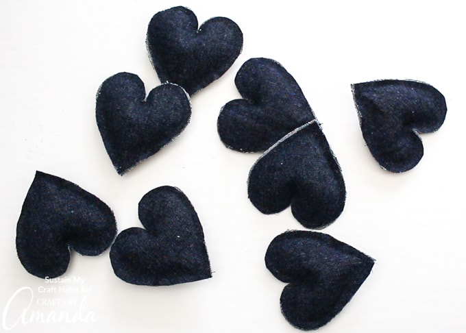 small hearts from denim fabric
