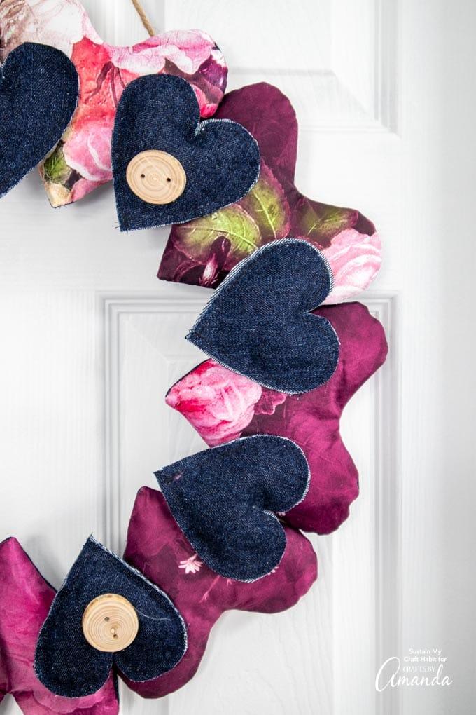 Heart wreath made from scrap fabric on door