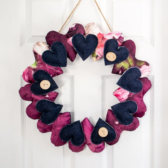 a heart wreath made from fabric