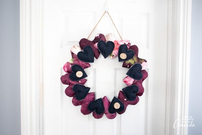 heart wreath hanging on a door