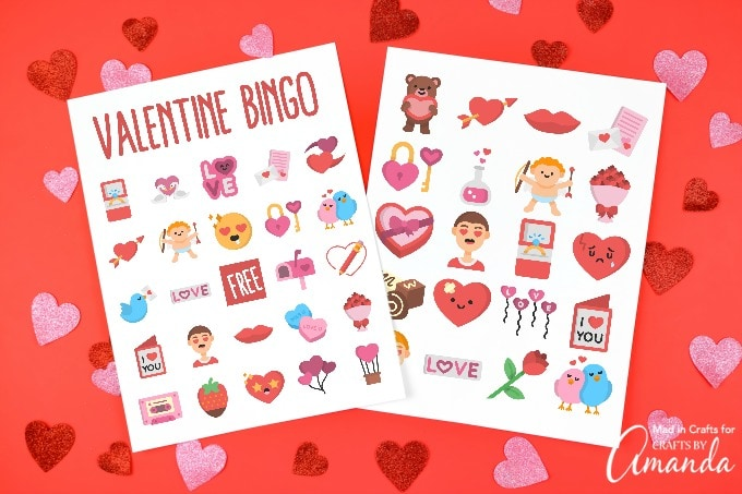 Valentine bingo on red background with hearts
