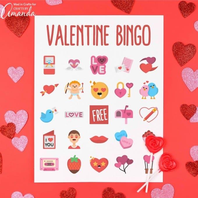 Valentine Bingo on cardstock
