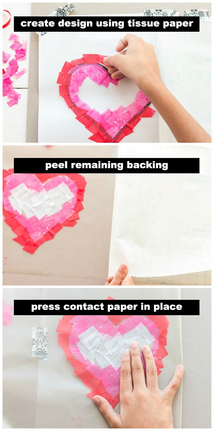 adding tissue paper to contact paper