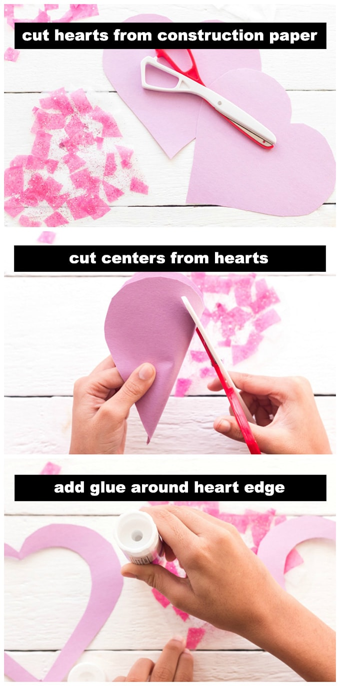 cutting hearts from paper
