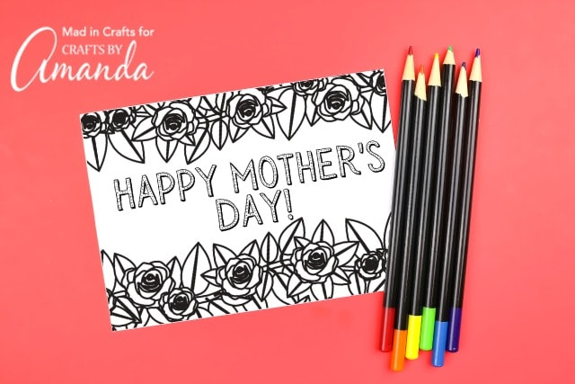 mother's day printable coloring card on red background with colored pencils