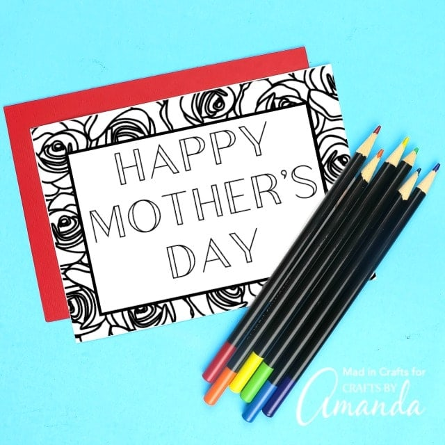 Happy Mother's Day coloring card on blue background