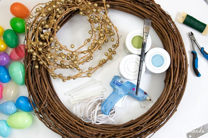 supplies needed to make an Easter Egg Wreath