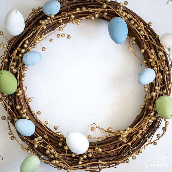 closeup of grapevine easter egg wreath