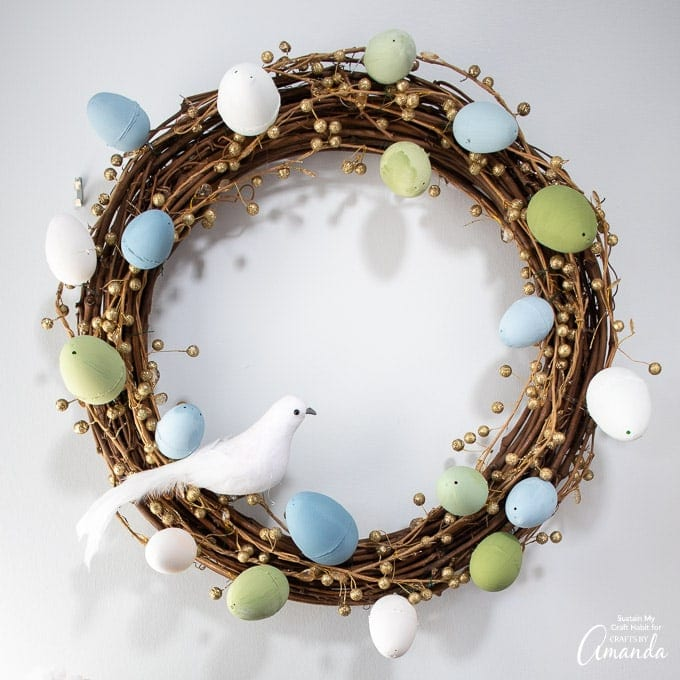 Easter Egg Wreath with white dove