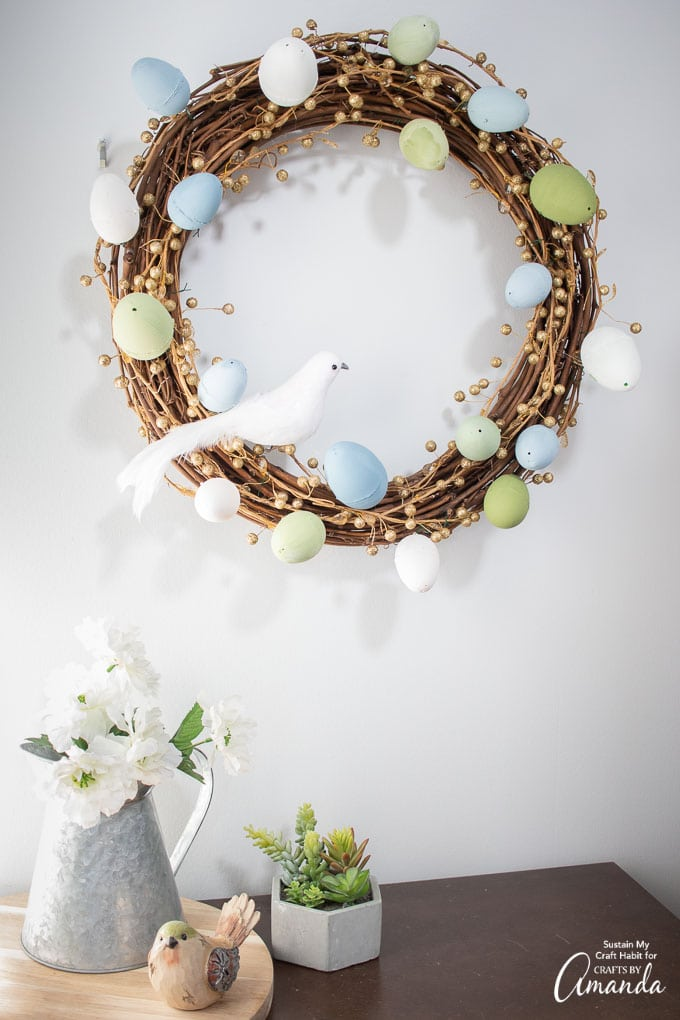 easter egg wreath on the wall