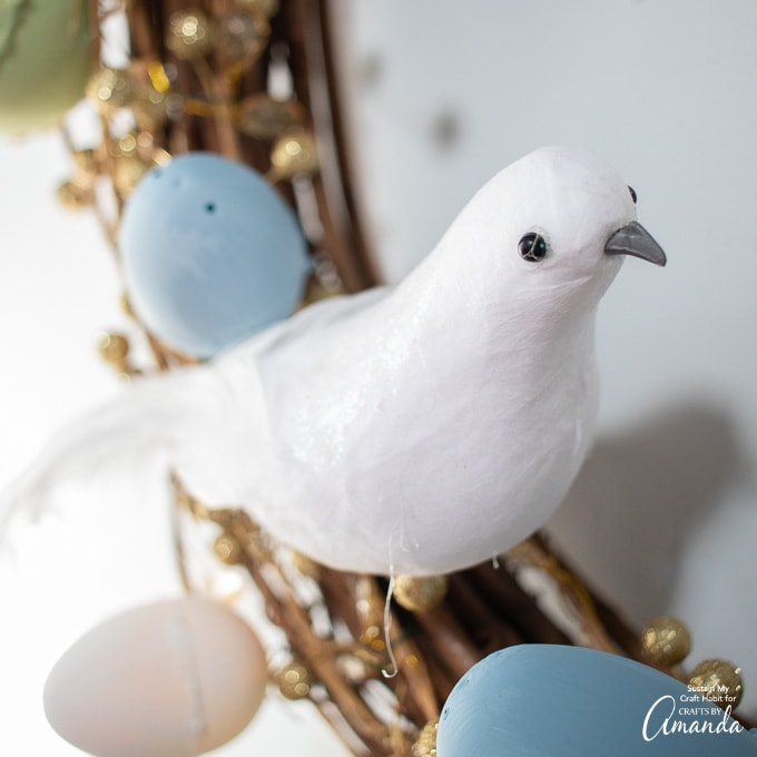 faux dove on grapevine wreath