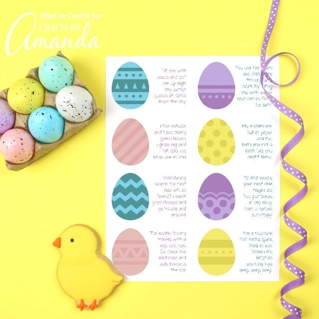 easter scavenger hunt printable on yellow background