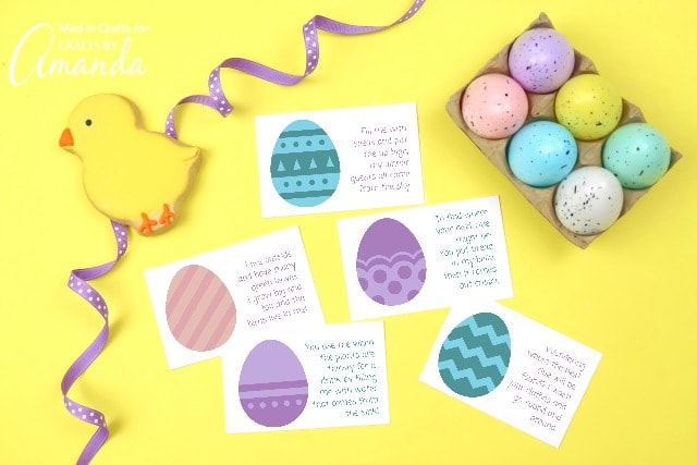 printable easter scavenger hunt clues on yellow background