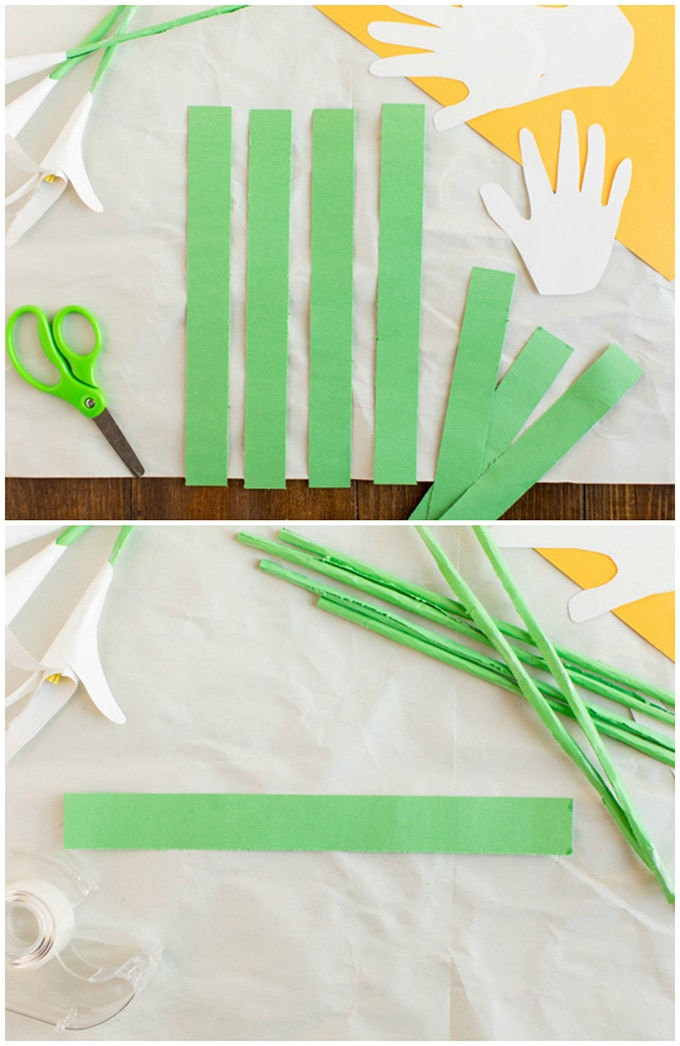 rolling green construction paper