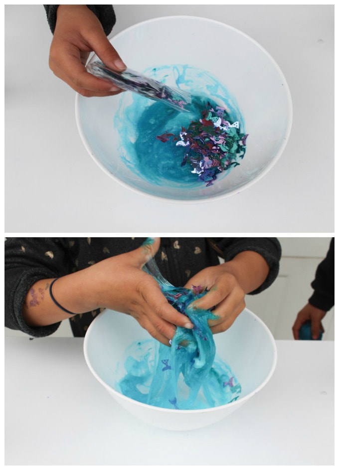adding sequin to slime