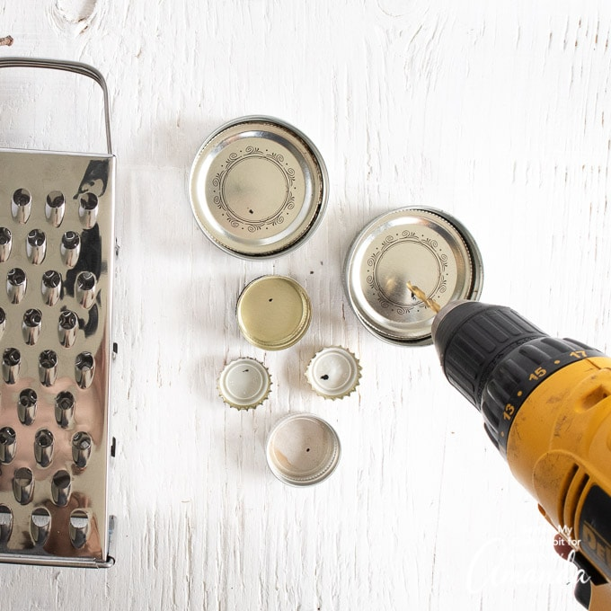 drill holes through lids