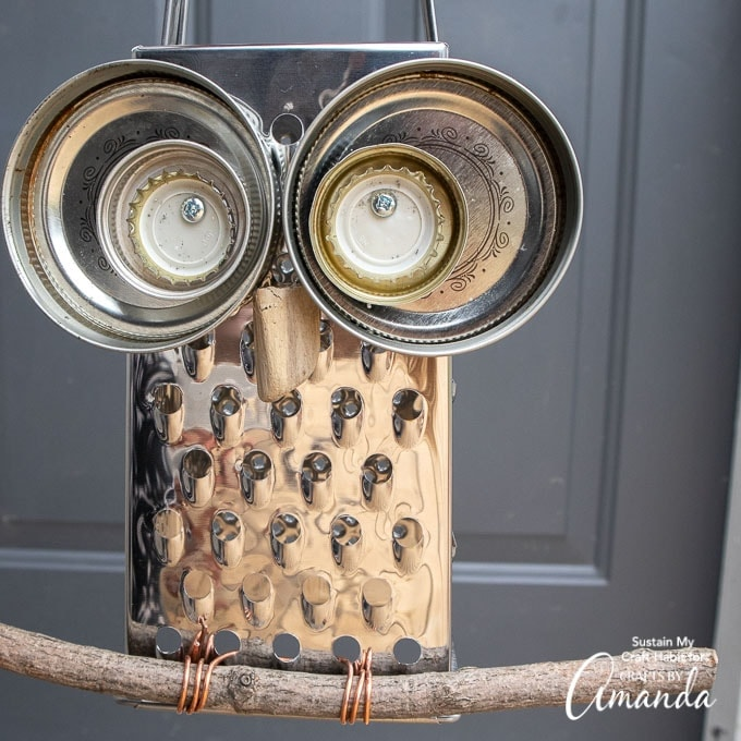 Cheese grater owl on branch
