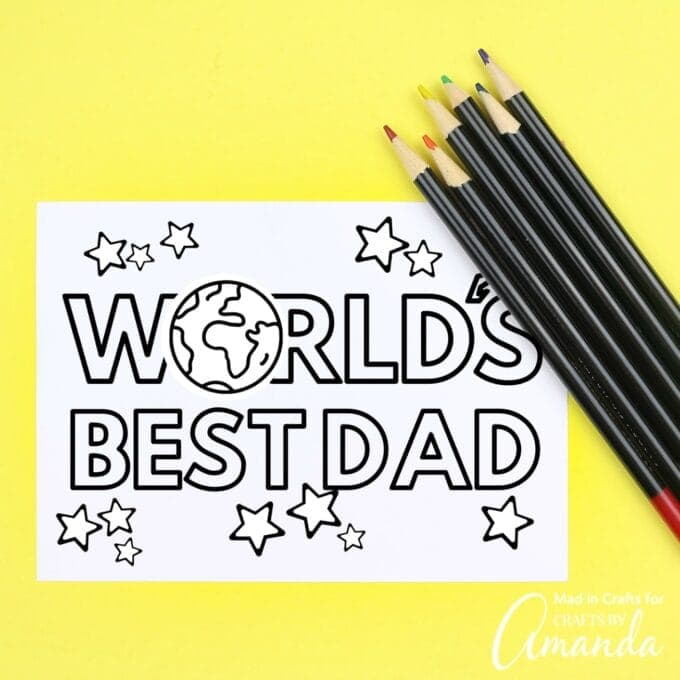 Worlds best dad coloring card with colored pencils