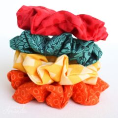 stack of homemade scrunchies