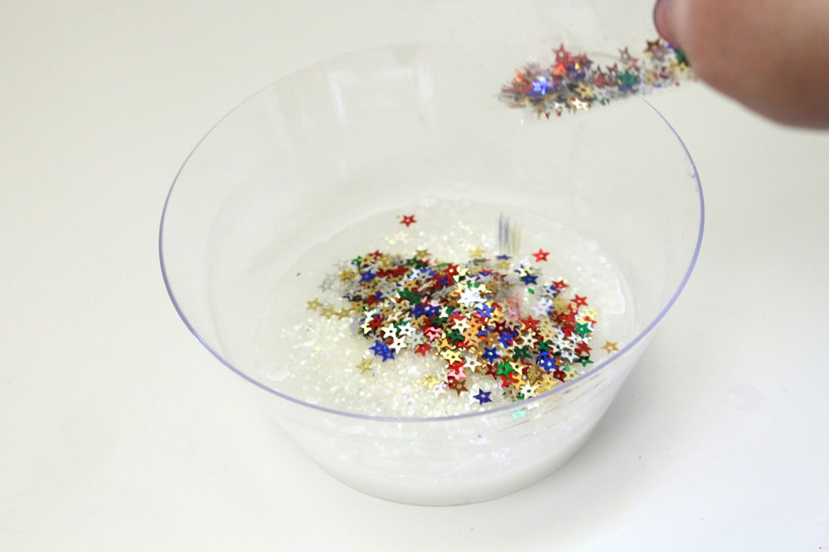 adding sequins to bowl
