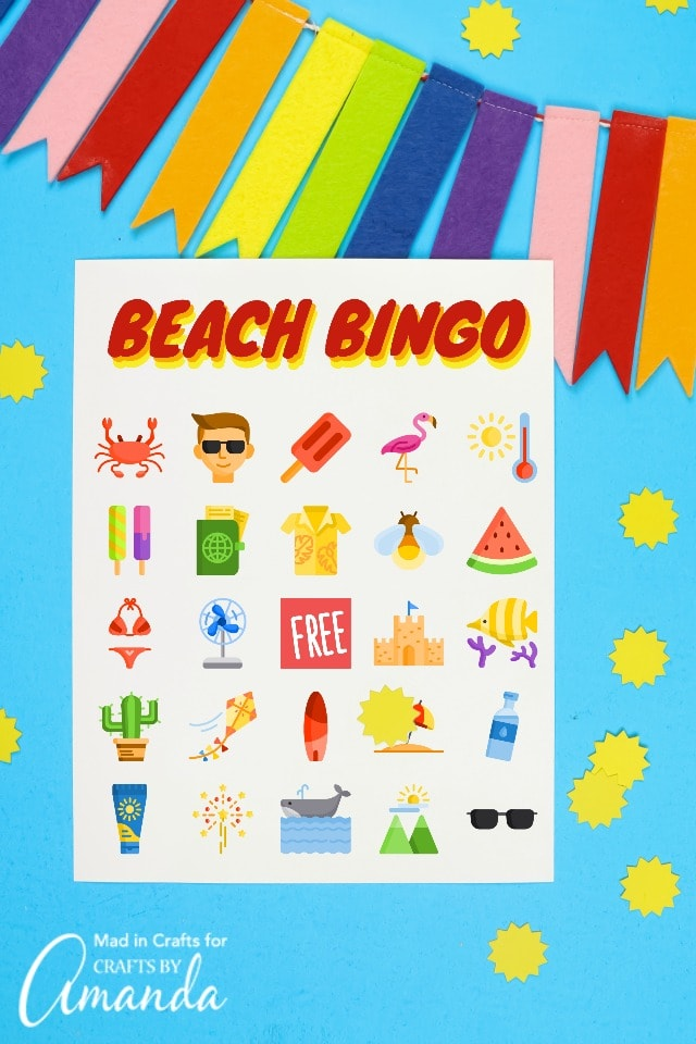 colorful beach bingo game for kids